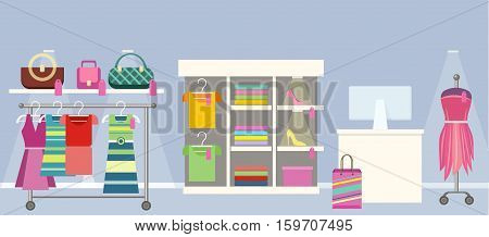 Boutique concept vector. Flat design. Woman s clothes shop interior. Hangers with dresses and blouses, handbags, mannequin and seller s place. Picture for flayers, visual ad, web design.