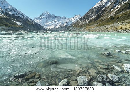 Mueller Glacier Aoraki Mt Cook National Par South Island New Zealand