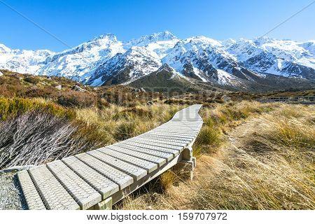 Hooker valley walking trek in Mouth Cook New Zealand