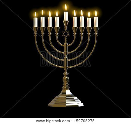 Menorah Hanukkah lamp which is lit during the eight days of Hanukkah. 3D render. Isolated