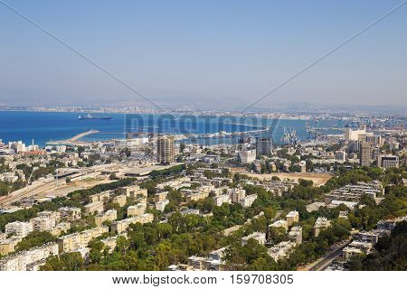Panoramic view of the Haifa and sea port. Panorama from 6 shots big size of photo