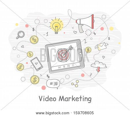 Video marketing banner in flat. Tablet computer with social media elements. Problem solving, strategy solution, analysis innovation, research, brainstorm, good solution, inspiration illustration.