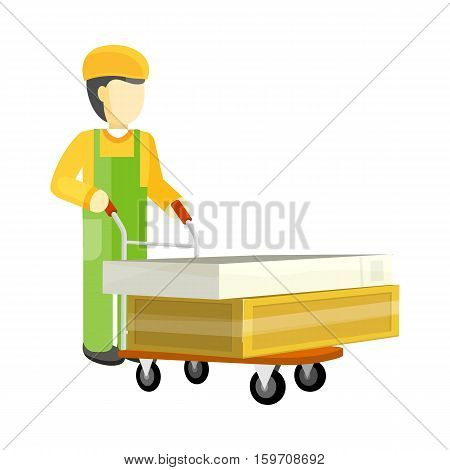 Man character in green and yellow uniform with heavy boxes on big trolley. Buying building materials in supermarket concept. Delivering overall goods. Flat design illustration for ad and icons.