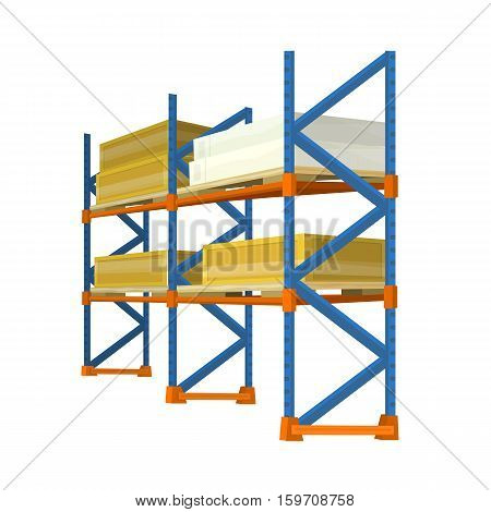 Warehouse racks with boxes and crates. Vector in isometric projection. Equipment for storage products in stock. Illustration for delivery, postal, retail companies and services ad  Isolated on white