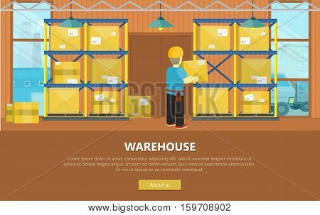 Warehouse interior banner. Equipment delivery process of warehouse. Warehouse interior, logisti and factory, loader man in warehouse building exterior, business delivery, storage cargo illustration