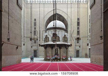 CAIRO, EGYPT - 27 MARCH 2016 : Mosque-Madrassa of Sultan Hassan, a Mamluk era mosque and madrassa found in 757 AH/1356 CE