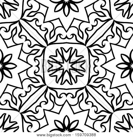 Oriental seamless ornamental pattern. Vector black and white background. Template for carpet mosaic flooring tile wallpaper textile.
