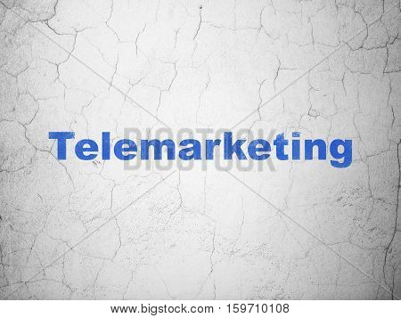 Marketing concept: Blue Telemarketing on textured concrete wall background