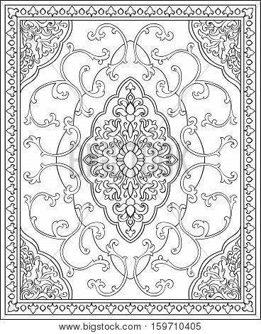 Oriental abstract ornament. Template for carpet shawl textile bedcover and any surface. Ornamental vector pattern with filigree details.