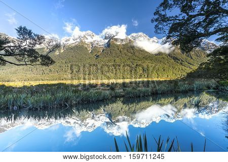 Mirror Lake in the Fiordland National Park South Island of New Zealand.