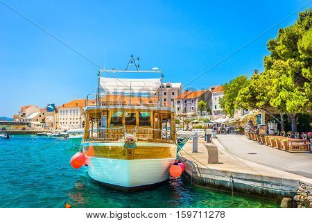 View at mediterranean colorful scenery in old touristic town Bol, Island Brac, Croatia european famous places.