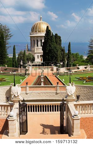 HAIFA ISRAEL - CIRCA SEP 2016: View of the Bahai Gardens. Temple of Bahai with golden dome