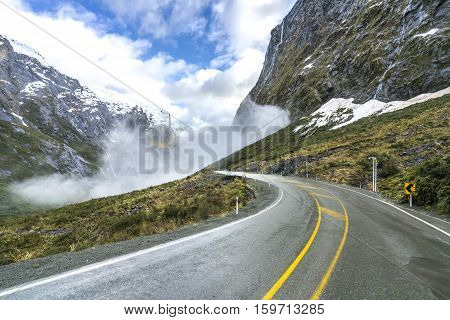 The road to Milford Sound among majestic mountains