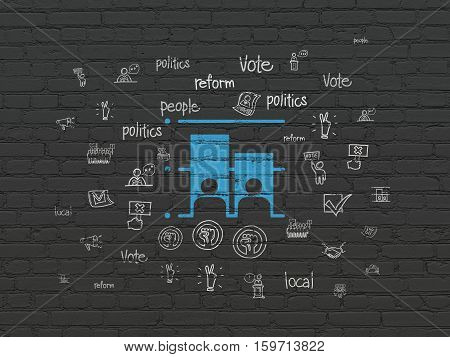 Political concept: Painted blue Election icon on Black Brick wall background with  Hand Drawn Politics Icons