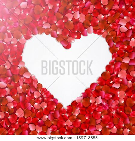 Heart Shape Of  Red Petals On White  Background, Vector Illustration. Valentine's Day With Beautiful