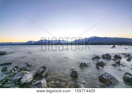 Tekapo lake with sunrise view, new zealand