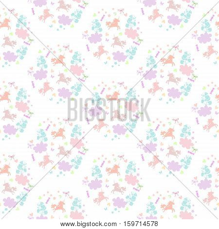 Cute seamless pattern with unicorns, flowers, clouds, stars, hearts and sweets. Vector illustration.