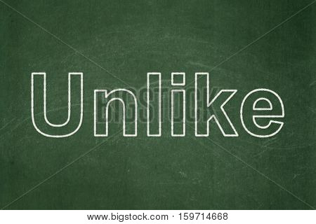 Social media concept: text Unlike on Green chalkboard background