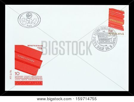 YUGOSLAVIA - CIRCA 1979 : Cancelled First Day Cover Letter printed by Yugoslavia, that shows Red Flag.
