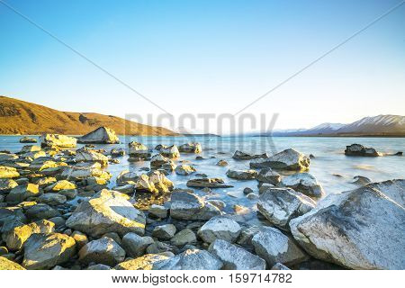 Tekapo lake at new zealand with natural light.