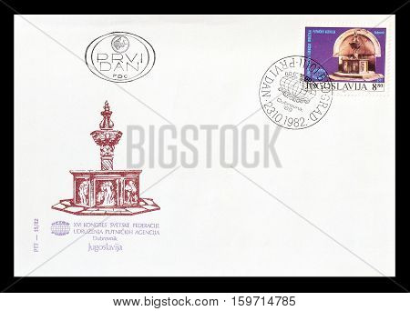 YUGOSLAVIA - CIRCA 1982 : Cancelled First Day Cover Letter printed by Yugoslavia, that shows Monument.