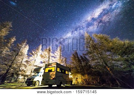 GLENTENNER NEW ZEALAND - AUGUST 30 2016: Milky way from glentenner campsite New Zealand.