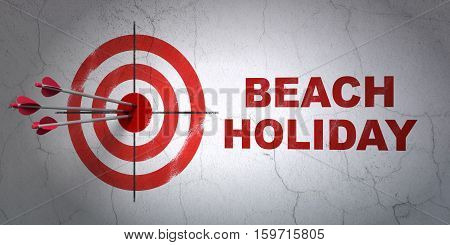 Success vacation concept: arrows hitting the center of target, Red Beach Holiday on wall background, 3D rendering