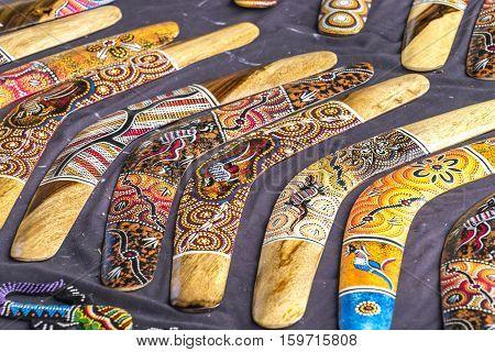 SYDNEY, AUSTRALIA - AUGUST 26, 2016: Boomerang at street market, Circular Quay, Sydney