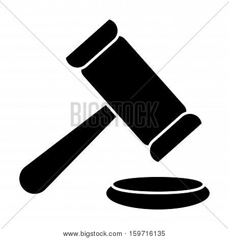 silhouette of law gavel icon over white background. vector illustration