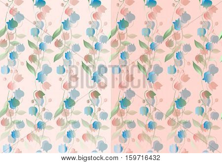 Set of two gentle seamless floral patterns. Beautiful background with bellflowers.