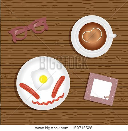 Breakfast: fried egg with two sausage. Cup with coffee on saucer. Burgundy glasses. Napkin with cute pink trim with white polka dots and hearts. Wooden background. Vector illustration.