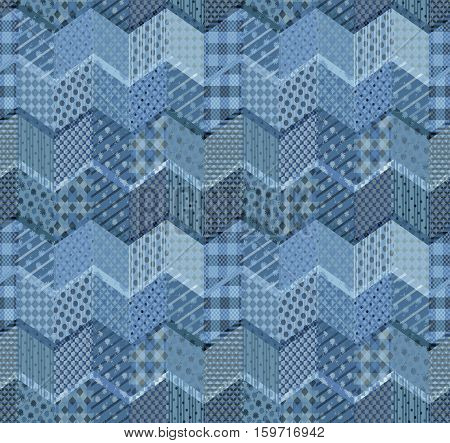 Seamless patchwork pattern with zigzags. Beautiful illustration in blue tones.