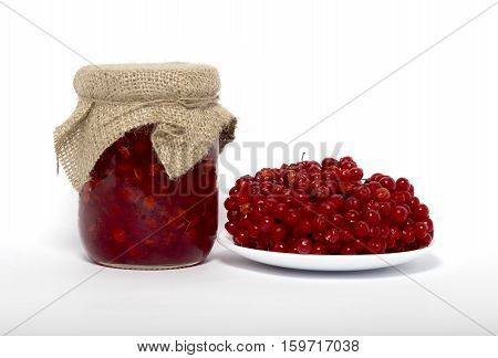 Red viburnum jam in glass and fresh viburnum on the white plate