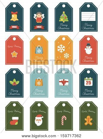 Christmas 16 labels. Festive for a gift. The winter decor isolated for the print. Vector