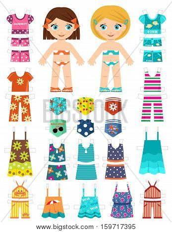 Paper doll with a set of summer clothes. Vector