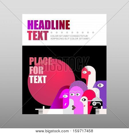Group of people looking in the same direction vector template. Multipurpose flyer design layout poster with place for text.