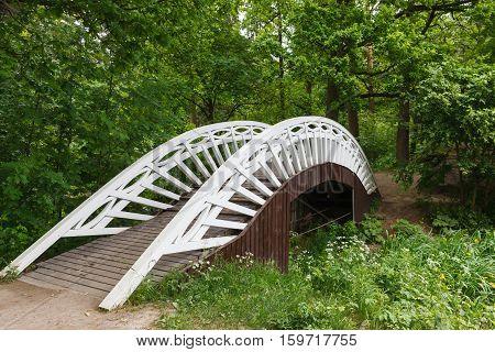 Old Chinese bridge in the park of Mon Repos, Vyborg, Russia.