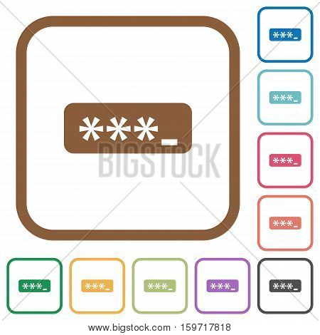 PIN code simple icons in color rounded square frames on white background