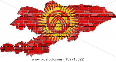 Kyrgyzstan map on a brick wall - Illustration,   Kyrgyzstan map with flag inside