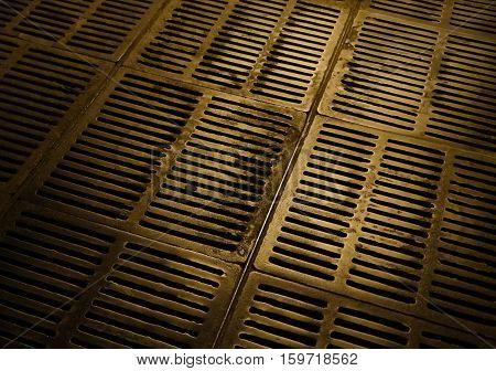 Canalization and urban sewerage grey metallic hatch underground