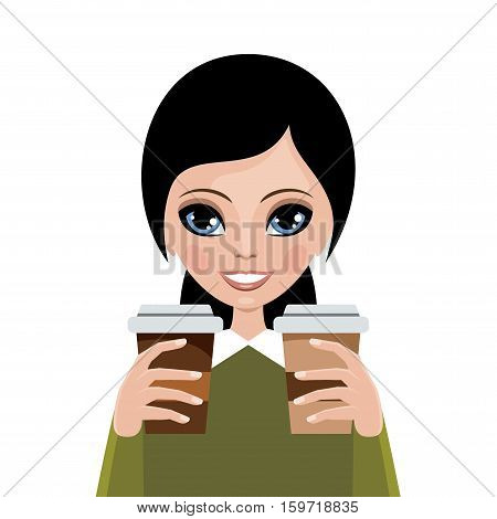 Woman from coffee on a white background. Coffee break. Vector