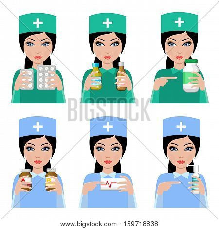 Woman doctor. The pharmacist with drugs. Treatment. Vector