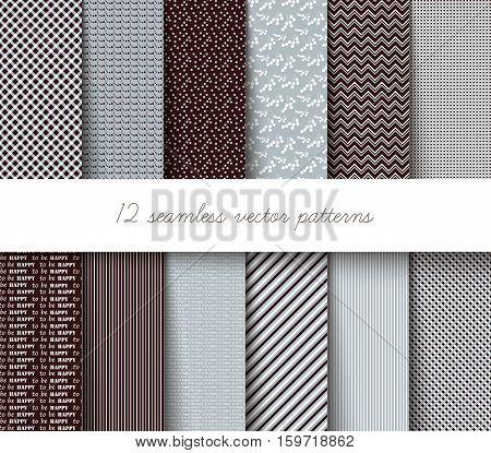 Twelve seamless vector illustration geometric patterns .