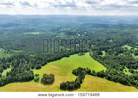 Northern landscape. Endless forests, taiga. View from above