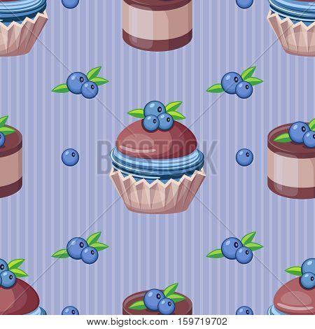 Twelve seamless cupcake vector illustration pattern .