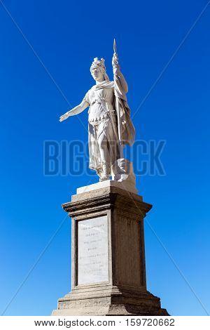 San Marino. San Marino Republic - November 06 2015: Statue of Liberty in San Marino against the bright blue sky