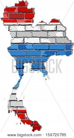 Thailand map on a brick wall - Illustration,  Kingdom of Thailand map with flag inside