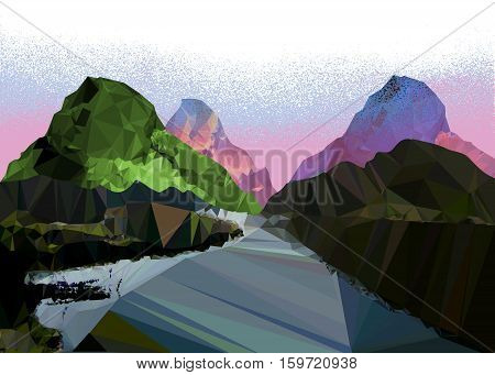 Misty mountain landscape of polygons with a road. Polygonal mountains with pink and blue haze