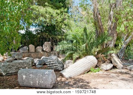 Antique columns debris at Carthage Tunis Africa