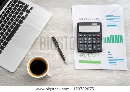 Financial Paper Charts And Graph